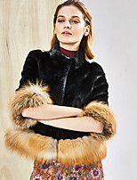 Women's Plus Size / Casual/Daily / Party/ Simple Fur Coat,Color Block Stand ¾ Sleeve Fall / Winter Black / Brown Acrylic