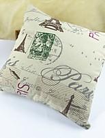 Eiffel Tower Print Cotton/Linen Pillow Cover