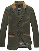 Мужской Полиэстер / Спандекс Куртка На каждый день / Для офиса / Для торжеств и мероприятий,Однотонный / Контрастных цветов,Длинный рукав,