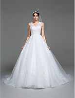 Lanting Bride A-line Wedding Dress Chapel Train V-neck Tulle with Appliques