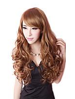 peluca de color marrón de las mujeres cosplay lindo manera la calidad superior de la peluca de la señora pelucas sintéticas larga