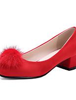 Damen-High Heels-Party & Festivität / Kleid / Lässig-Kunstleder-Blockabsatz-Absätze / Komfort / Quadratische Zehe-Schwarz / Rot / Grau