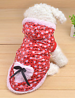 Dog Hoodie Red / Blue / Pink Winter / Spring/Fall Polka Dots / Bowknot Casual/Daily Dog Clothes / Dog Clothing-Other