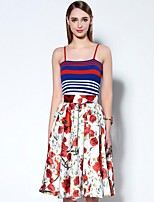 Boutique S  Women's Going out Sophisticated Swing Dress,Floral Strap Knee-length Sleeveless Red Rayon Summer