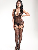Women Black Conjoined Tight Stitching Design Open Crotch Breast Stockings Grid Jumpsuit Barelegged Lingerie