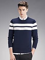 Мужской В полоску Пуловер На каждый день / Большие размеры,Хлопок,Длинный рукав,Черный / Синий / Красный / Белый / Серый