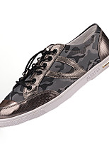 Men's Flats Spring / Fall Round Toe PU Casual Flat Heel Others / Lace-up Black / White / Gray Others