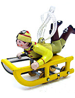 The Sled Wind-up Toy Leisure Hobby  Metal Yellow For Kids