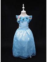 Girl's Party/Cocktail Solid Dress,Polyester Summer Blue