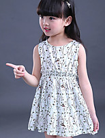 Girl's Casual/Daily Floral Dress,Cotton Summer Pink / White