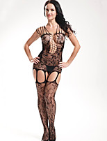 Women Black Conjoined Tight Perspective Mesh Sexy Suspenders Fishnets Open Crotch Stockings  LingerieContains Thong