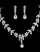 Full Crystal Drop Earrings Necklace Jewelry Set for Lady Party