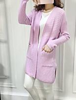 Damen Lang Strickjacke-Lässig/Alltäglich Einfach Solide Weiß / Grau / Lila Asymmetrisch Langarm Baumwolle Herbst Mittel