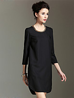 BURDULLY Women's Round Neck 3/4 Length Sleeve Above Knee Dress-1606