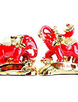 Good luck Living Room Decoration Resin Crafts A Pair of Gold-plated Elephants Ornaments