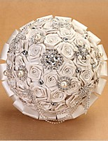 Wedding Flowers Round Roses Bouquets Wedding Satin 10.24