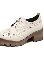 Women's Oxfords Fall Creepers / Round Toe Microfibre Casual Platform Lace-up Black / Beige Others
