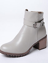 Women's Boots Fall / Winter Fashion Boots Dress Chunky Heel Zipper Black / Red / Gray Walking