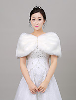 Women's Wrap Ponchos Sleeveless Faux Fur Ivory Wedding Off-the-shoulder 35cm Pearls Pullover