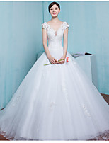 A-line Wedding Dress Court Train V-neck Tulle with Appliques / Beading