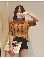 Women's Going out Vintage Regular Pullover,Solid Brown / Gray V Neck Short Sleeve Cotton / Polyester Summer Thin