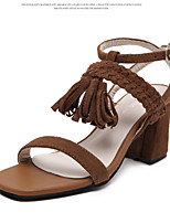Women's Sandals Summer Sandals / Open Toe Leather Casual Chunky Heel Tassel Black / Brown Others