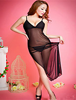 Side Slit sSexy Perspective Gauze Solid Color Long Section Of Suspenders Lingerie Pajamas