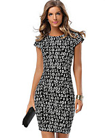 Women's Plus Size / Casual/Daily Street chic Print Letter Bodycon Dress,Geometric Round Neck Above Knee Short Sleeve