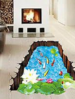 3D Lotus Pond Goldfish Flower Bathroom 3D Wall Stickers Fashion Living Room Wall Decals