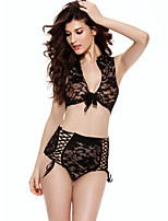Women Lace Lingerie Nightwear,Lace Jacquard-Thin Lace Fuchsia / Black Women's