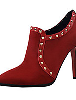 Women's Boots Fall / Winter Fashion Boots Fleece Casual Stiletto Heel Rivet Black / Pink / Red / Gray / Khaki Others