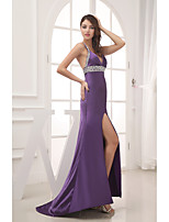 Formal Evening Dress Sheath / Column Straps Court Train Stretch Satin with Beading / Split Front