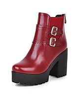 Черный / Желтый / Красный-Женский-Для офиса / На каждый день-Полиуретан-На толстом каблуке-Ботинки / С круглым носком-Ботинки
