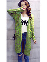 Women's Going out /Cute Long Cardigan,Solid Gray / Green V Neck Long Sleeve Cotton Spring / Fall Medium