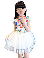 Girl's Casual/Daily Print Dress,Rayon Summer Blue / Green / Red / White