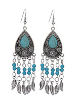 Vintage Bohemia Jewelry Long Leaves Dangle Earrings Water Drop Turquoise Beads Earring For Women