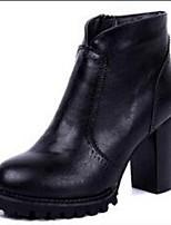 Mujer-Tacón Robusto-Botas Anfibias / Botas a la Moda-Botas-Exterior / Casual / Deporte-PU-Negro / Bermellón
