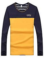 Мужской Контрастных цветов Футболка,На каждый день / Для занятий спортом,Хлопок,Длинный рукав-Синий / Несколько цветов / Оранжевый /
