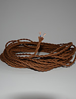 (100 m/Lot) Antique Braided Electrical Wire Vintage Lampes Pendant Light Wire DIY Accessories/Brown