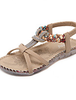 Women's Sandals Summer Sandals / Open Toe PU Casual Flat Heel Crystal Black / Almond Others