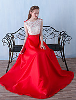 Formal Evening Dress A-line Jewel Floor-length Organza with Beading