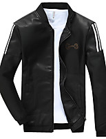 Men's Long Sleeve Casual / Sport Jacket,PU / Cotton / Rayon / Polyester Solid Black / Blue / Red / Yellow