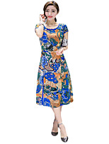 Women's Plus Size Vintage A Line / Sheath Dress,Floral Round Neck Midi Short Sleeve Blue / Red Polyester Summer