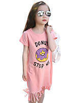 Girl's Casual/Daily Solid Dress,Cotton Summer Pink / White / Gray