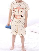 Boy's Casual/Daily Polka Dot Clothing Set / Sleepwear,Cotton Summer White / Yellow