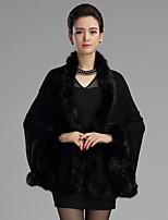 Women's Plus Size Vintage Regular Cloak / Capes,Solid Red / Black / Yellow / Purple Wool / Acrylic Winter Medium