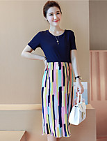 Maternity Casual/Daily Simple Sheath Dress,Patchwork Round Neck Midi Short Sleeve Blue Cotton Summer