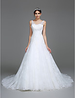 Lanting Bride Fit & Flare Wedding Dress Chapel Train V-neck Tulle with Appliques