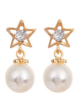 Korean Fashion Jewelry Women's Earrings Gold Plated Simple Pearl Stud Earrings Women Rhinestone Star Earring