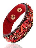 Leather Bracelets 1pc,Black / White / Red / Blue / Brown / Green / Purple Bracelet Personality Geometric Alloy Jewellery